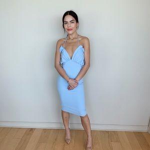 Boutique blue halter cocktail dress